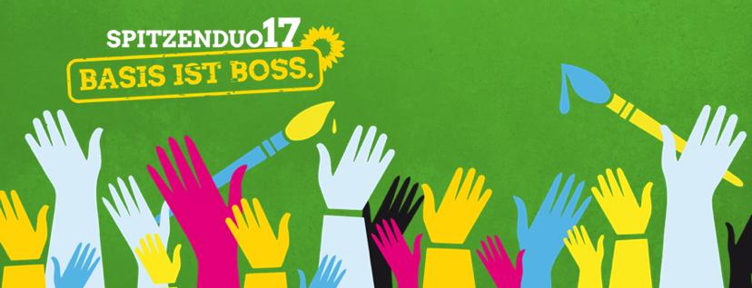 Zentrales Motiv der Urwahl und Hintergrund bei den Veranstaltungen, Claim lautet Spitzenduo17 - Basis ist Boss